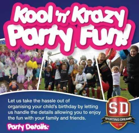 children birthday party's, sports party, dance party, football party