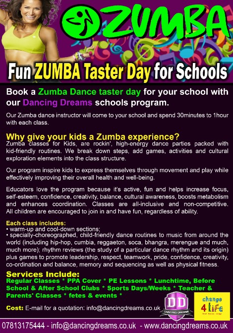 Dancing Dreams Zumba Taster Day for Schools